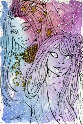 Galaxy Portrait Leilah and Starrily by nickyflamingo