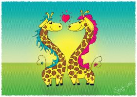 Heart giraffes by saysly