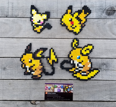 Pikachu Family 2.0 - Pokemon Perler Bead Sprites by MaddogsCreations