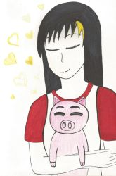 A girl and her piglet by TheARTIST-4