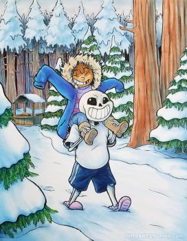 Snowdin Stroll by CliffeArts