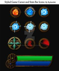 Styled Game Cursor and Stats Bar Icons by RydanInk