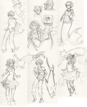 Mostly HS trad sketches by Squidbiscuit