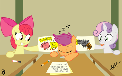 Cutie Mark Crusaders in: Classroom Follies COLORED by Drewdini