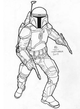 #Inktober pen sketch - Jango Fett by Robert-Shane