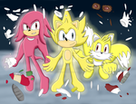 COMM - Super Boom Sonic, Knuckles and Tails by HedgeCatDragonix