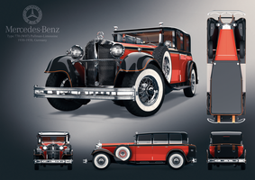 Mercedes-Benz 770 (W07) Pullman-Limousine Poster by forArkan