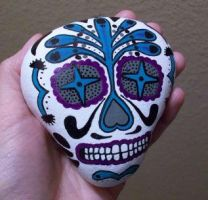 Mexican Skull art painted rock by TinyAna