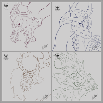 Dragons Lineart by ViperidaeGraphics