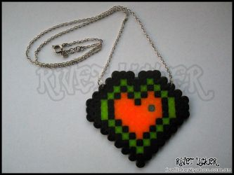 8-Bit Neon Heart Necklace by angeleyezxtc