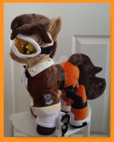 mlp plushie commission TRACER w/guns OVERWATCH by CINNAMON-STITCH