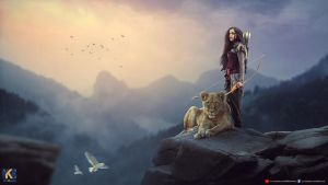 Warrior With Lion by rajrkb