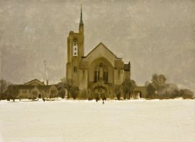 Church in Winter by AaronMiller