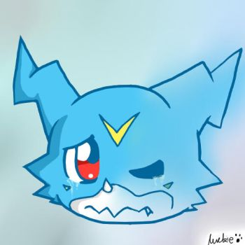 Veemon crying by CreamPuffWolfe