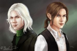 Elim And Ildris Male character portraits by NicoleCadet