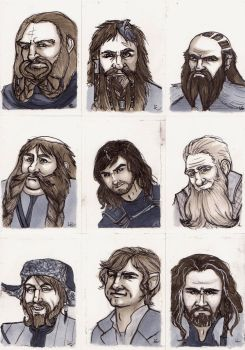 sketchcards of hobbits 1 by greymoonx