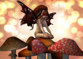 Fairy Sitting on Mushrooms by Elle-Arden