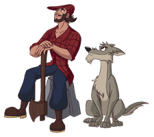Paul Bunyan and Reitherman The Big Bad Wolf by Trinityinyang