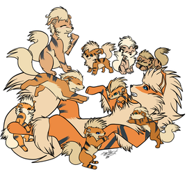One Big Happy Growlithe Family by LindsayPrower