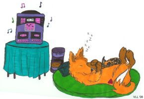 Rava Relaxes with Some Tunes by UtterPsychosis