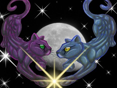 The Moon Cats by JusterNeko