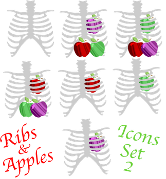 Ribs and Apples Icon Set 2 by GodsGirlRachel