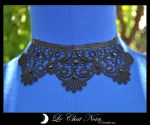 Macrame Collar with Pearls by LeChatNoirCreations