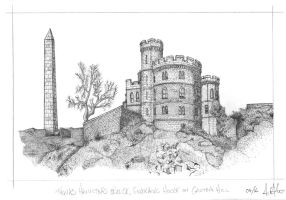 Hamilton Obelisk and Governors House, Calton Hill by AHamiltonSketches