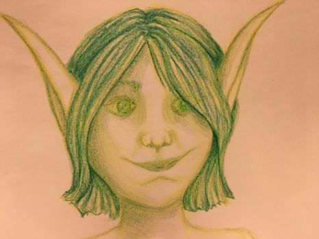 Dryad/Sylph/Fae in Green Crayons by carnalunacy