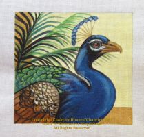 Peacock 18ct Mono Needlepoint by HouseofChabrier