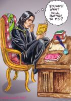 Snape reading Deathly Hallows by cabepfir