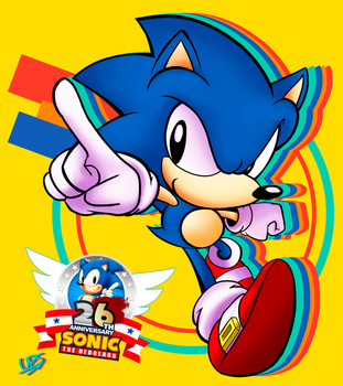 Happy 26th Anniversary Sonic! by UltraPixelSonic