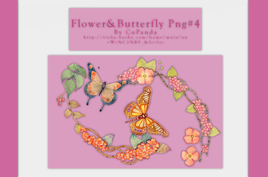 Flower and Butterfly Png by CuPanda