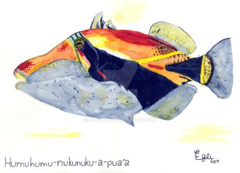 Reef Triggerfish Watercolor by SurfTiki