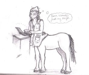 Foaly as a Deviantart addict by Kaytishu