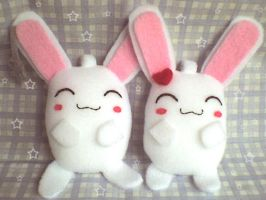 cute bunny couple plushies by VioletLunchell