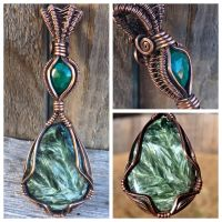Seraphinite and emerald wire wrap pendant by messaroo