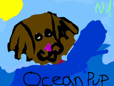 Shad dog in ocean by commetsupergirl323