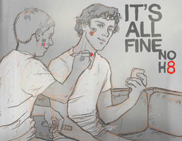 Sherlock - Its all fine, NOH8 by thenizu