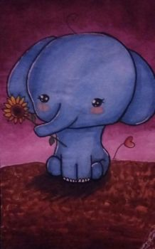 Little Elephant with a Sunflower by LibraPotato