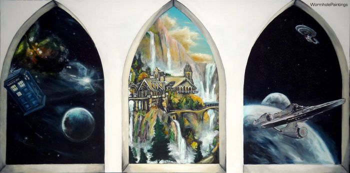 Three windows to different worlds... by WormholePaintings
