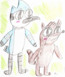 Rigby And Mordecai by ptitemouette