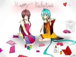 Mia's and C4's valentines day cards by SpiderShii