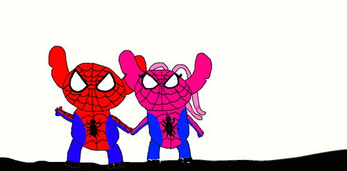 Angel and Stitch as Spider man and girl by TheCartoonWizard