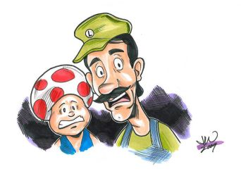 Luigi and Toad by mitchatt
