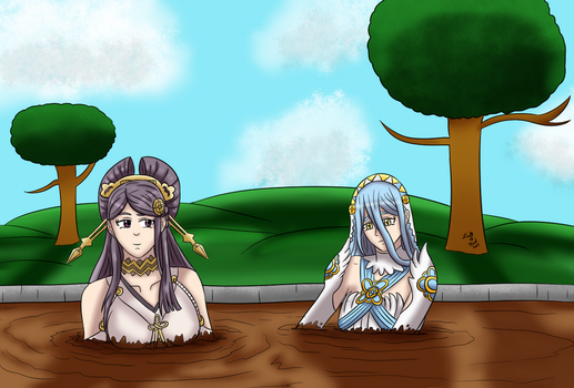 Orochi and Azura Sinking (Commission) by Lady-of-Mud