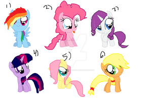 Mlp Mane 6 Characters as fillys by TheFloweyfanclub