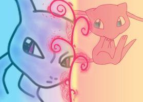 Mew and Mewtwo Wallpaper by FriezaMangas