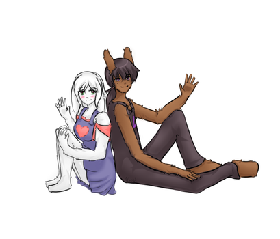 Bunny Couple Sitting by qtest-lil-angel