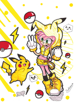 Amy Rose n' Pikachu by Solisnack